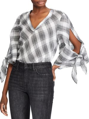cde9406f695af4 QUICK VIEW. Lauren Ralph Lauren. Plaid Crinkled Cotton Top