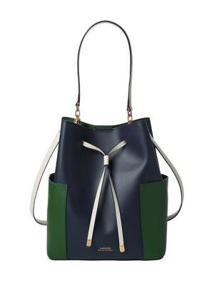 c307a819a8ce QUICK VIEW. Lauren Ralph Lauren. Colourblock Leather Drawstring Bag