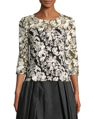 5e96b34a58e1cd QUICK VIEW. Alex Evenings. Floral Embroidered Tulle Blouse