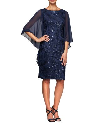 532ed79f7290 QUICK VIEW. Alex Evenings. Embroidered Cape-Sleeve Sheath Dress