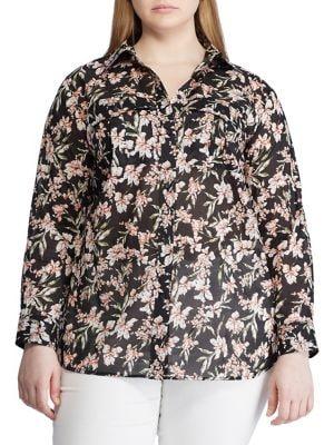 e863f9c2 QUICK VIEW. Lauren Ralph Lauren. Plus Floral-Print Cotton Button-Down Shirt