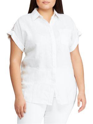 3c5b9ab6a QUICK VIEW. Lauren Ralph Lauren. Plus Relaxed-Fit Linen Blend Button-Down  Shirt
