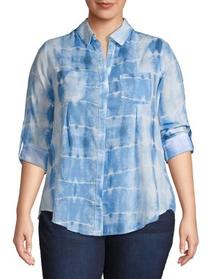 3347943f1cd327 QUICK VIEW. Lord   Taylor. Plus Printed Cotton Button-Down Shirt