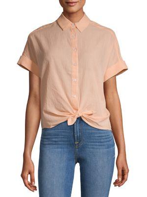 67f48962 Button-Down Tie Hem Shirt