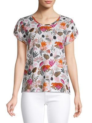13769fa9 Product image. QUICK VIEW. Lord & Taylor. Cheetah Floral Graphic Cotton Tee