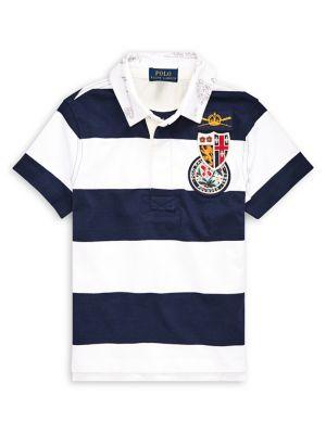 3e196b2ebf9 Little Boy's Stripe Patch Cotton Polo NAVY. QUICK VIEW. Product image.  QUICK VIEW. Ralph Lauren Childrenswear