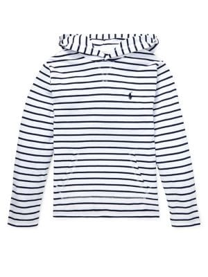 018c2b296 Product image. QUICK VIEW. Ralph Lauren Childrenswear. Boy's Striped Cotton  Jersey Hooded Tee
