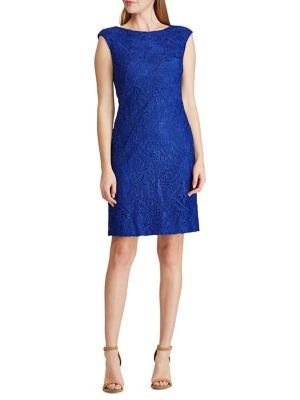 5c15fddad6 QUICK VIEW. Lauren Ralph Lauren. Cap-Sleeve Lace Sheath Dress