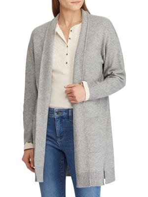 """Open-Front Cardigan-An open front and a straight fit accentuate the chic drape of this cotton blend cardigan. Open front Dropped shoulders Long sleeves Rib-knit cuffs and hem Front waist pockets Vented hem Cotton/acrylic/polyester Hand wash Imported SIZE & FIT Straight fit About 34"""" from shoulder to hem"""