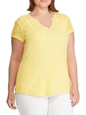 b945dc22a4a Plus Lace-Panel Cotton Top YELLOW. QUICK VIEW. Product image