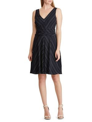 5855972a0d8 Product image. QUICK VIEW. Lauren Ralph Lauren. Striped Crepe Fit- -Flare  Dress