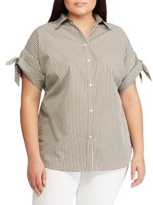 710d0462f048 QUICK VIEW. Lauren Ralph Lauren. Plus Relaxed-Fit Striped Cotton Button-Down  Shirt