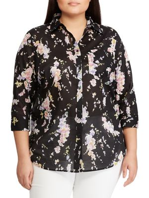 b46ec3b9 Plus Straight-Fit Floral Cotton Button-Down Shirt BLACK. QUICK VIEW.  Product image. QUICK VIEW. Lauren Ralph Lauren