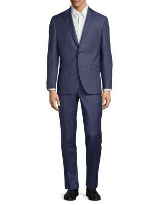 Notch Lapel Pinstripe Wool Suit by Calvin Klein