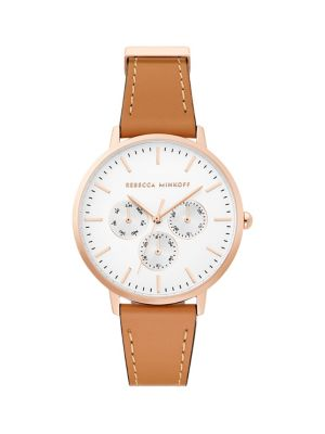 e11ac7770131 QUICK VIEW. Rebecca Minkoff. Major Honey Leather Strap Watch