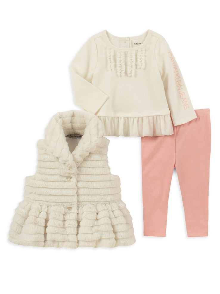 bd76956db Calvin Klein - Little Girl s 3-Piece Sherpa Vest Leggings Set ...