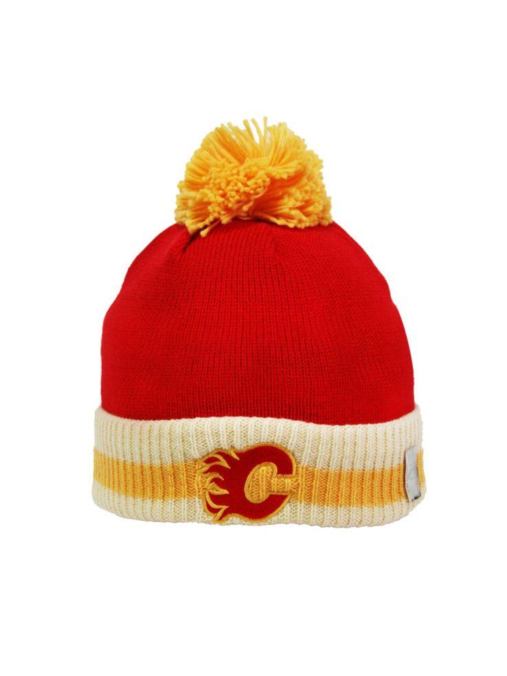 huge discount ab9fe 92e3f Reebok - CCM Vintage Calgary Flames Stripe Cuffed Pom-Pom ...