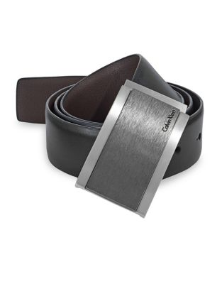 4713af96d QUICK VIEW. Calvin Klein. Reversible Wrapped Plaque Leather Belt