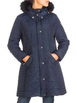 fc7348099205 Quilted Faux Fur-Trimmed Puffer Jacket INDIGO. QUICK VIEW. Product image.  QUICK VIEW. GUESS