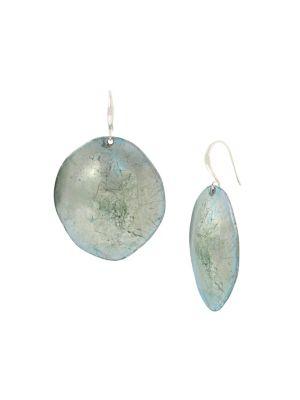 ea2db0eef Silvertone Sculptural Disc Drop Earrings