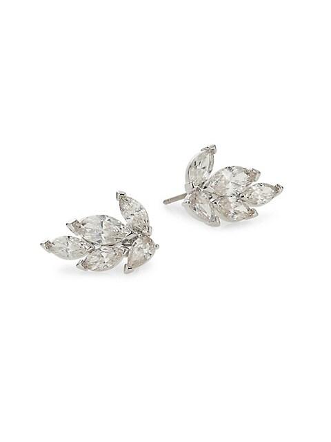Swarovski Crystal Leaf Stud Earrings