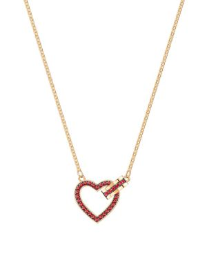 3a47ae839 Product image. QUICK VIEW. Swarovski. Lovely Gold & Red Crystal Heart  Necklace