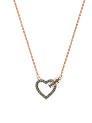 bc697f41e765 QUICK VIEW. Swarovski. Lovely Rose Gold   Grey Crystal Heart Necklace