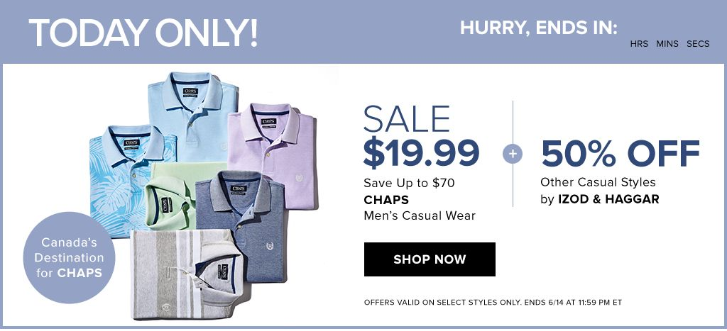 The Bay One Day Sale - Chaps Men's Casual Wear - $19.99