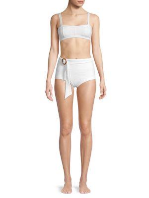 Poolside Bathe High Waisted Belted Bikini Bottom by Peony Swim