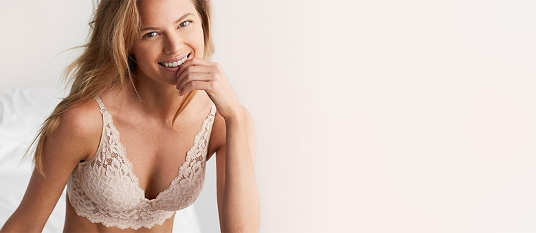36a1002133a0a Demi-cup bra with champagne lace overlay at thebay.com.
