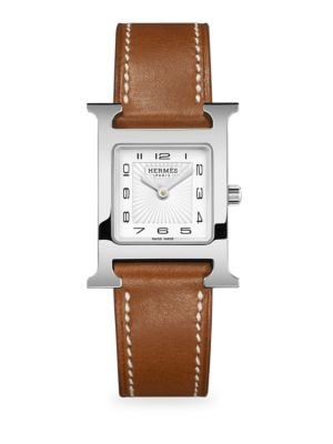 HERMÈS WATCHES Stainless Steel & Leather Strap Watch in Brown