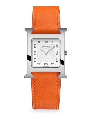 Hermès Watches Heure H 26MM Stainless Steel & Leather Strap Watch