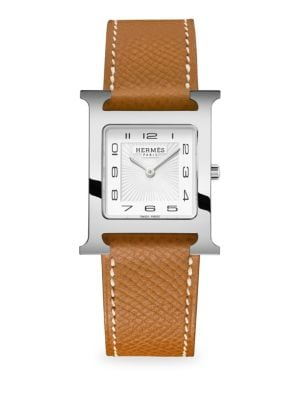 HERMÈS WATCHES Heure H, Stainless Steel & Leather Strap Watch in Brown