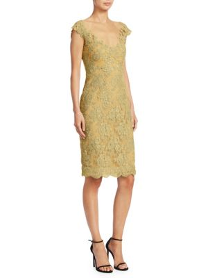 REEM ACRA Metallic-Lace Sheath Dress in Gold