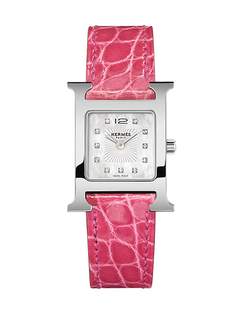 Hermes WOMEN'S HEURE H 21MM STAINLESS STEEL & ALLIGATOR STRAP WATCH