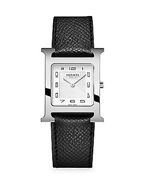 Heure H Stainless Steel & Leather Strap Watch by HermÈs
