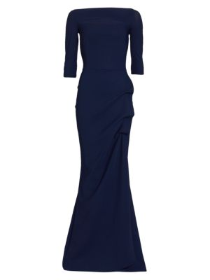 Kate Slit-Detail Boatneck Gown plus size,  plus size fashion plus size appare