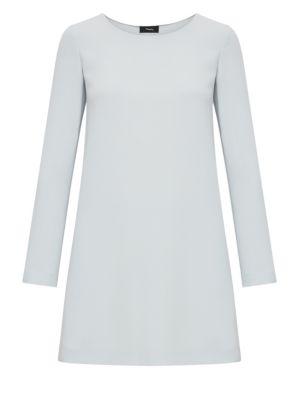 Long Sleeve Paneled Shift Dress in Blue