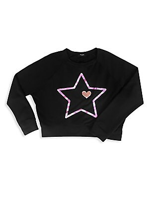 Image of Cropped dolman sleeve pullover with metallic star graphic. Scoopneck Long sleeves Pullover style Banded collar, cuffs and hem Polyester/rayon/spandex Machine wash Made in USA. Children's Wear - Contemporary Children. Terez. Color: Black. Size: Large (14).