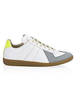 Image of Signature retro-inspired sneakers with understated colorblock design. Calf leather upper Round toe Lace-up vamp Cotton lining Padded insole Rubber sole Made in Italy. Men's Shoes - Designer Shoes. Maison Margiela. Color: White Yellow. Size: 41 (8).