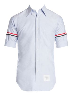 Classic Fit Stripe Trim Short Sleeve Button Down Shirt by Thom Browne