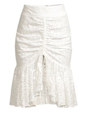 Brittany Gathered Floral Lace Skirt in White
