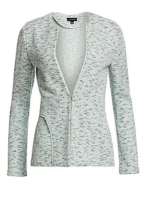 Image of The pastel hue of this tweed jacket is echoed by the curved piping at the hip. Team with the coordinating sheath for a polished look or dress the jacket down by pairing with a light wash denim. Roundneck Long sleeves Concealed front hook-and-eye closure R