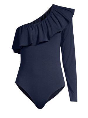 LILLY PULITZER Kourtney One-Shoulder Bodysuit in True Navy