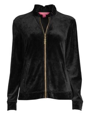 LILLY PULITZER Jaya Velour Zip-Up Jacket in Onyx