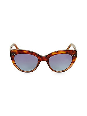 Image of From the Colors in Optics Collection. Fashion-forward sunglasses with on-trend cat eye tortoise frame. 100% UV protection Solid lenses Case and cleaning cloth included Plastic Imported SIZE 51mm lens width 20mm bridge width 145mm temple length. Soft Acces