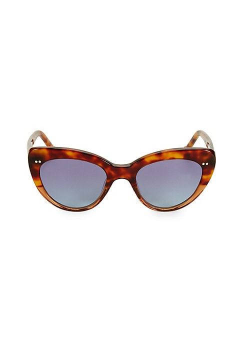 Image of From the Colors in Optics Collection. Fashion-forward sunglasses with on-trend cat eye tortoise frame.100% UV protection. Solid lenses. Case and cleaning cloth included. Plastic. Imported. SIZE.51mm lens width.20mm bridge width.145mm temple length.