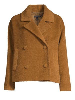 Wool Notched-Collar Short Jacket, Regular & Petite in Dark Clay