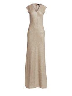 668f3d263c60 St. John. Brielle Knit V-Neck Gown