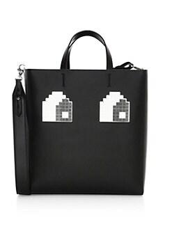 86225ebd8b6b Les Petits Joueurs. Meghan Logo Eyes Leather Tote Bag